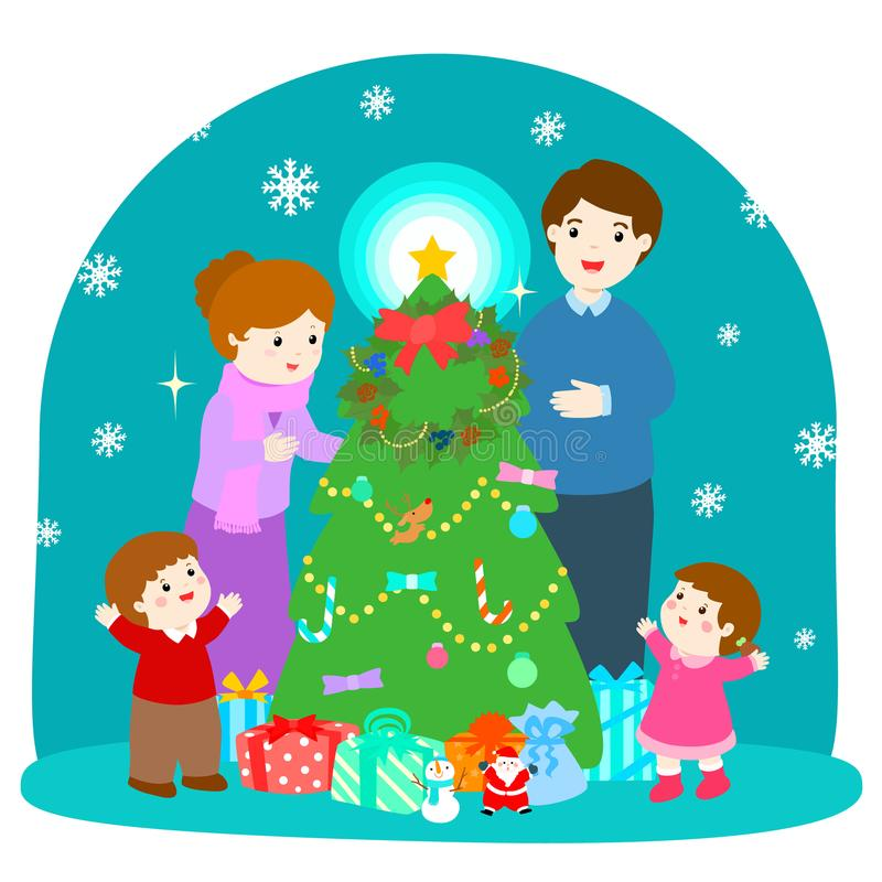 Cartoon illustration of a happy family at the Christmas royalty free illustration