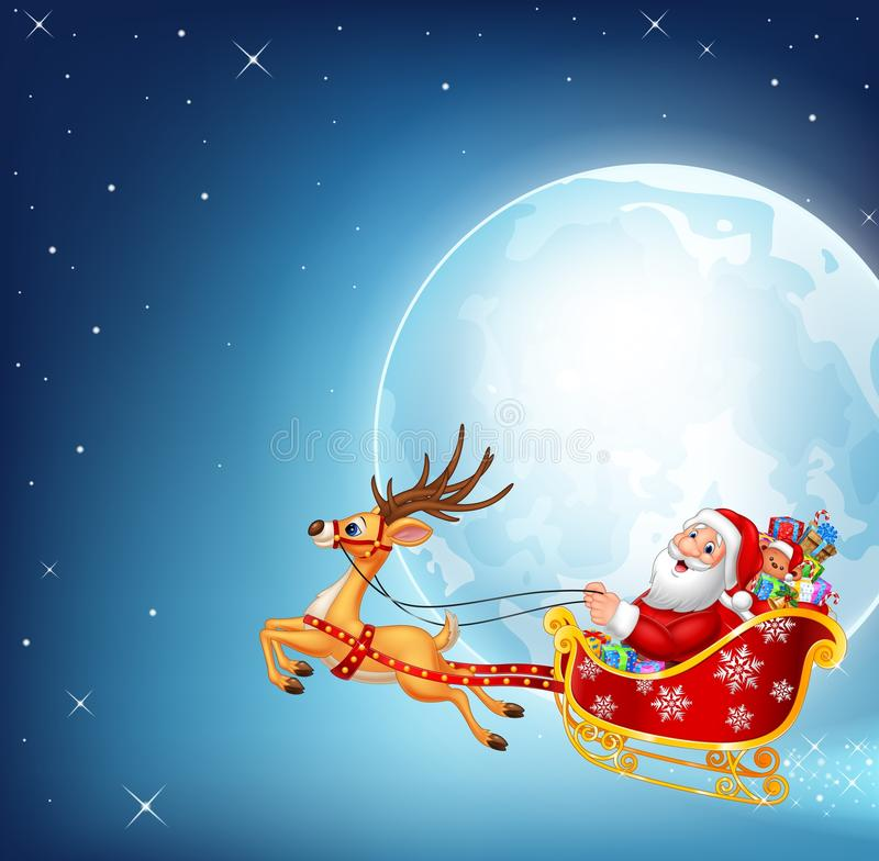 Cartoon illustration of happy Santa in his Christmas sled being pulled by reindeer vector illustration