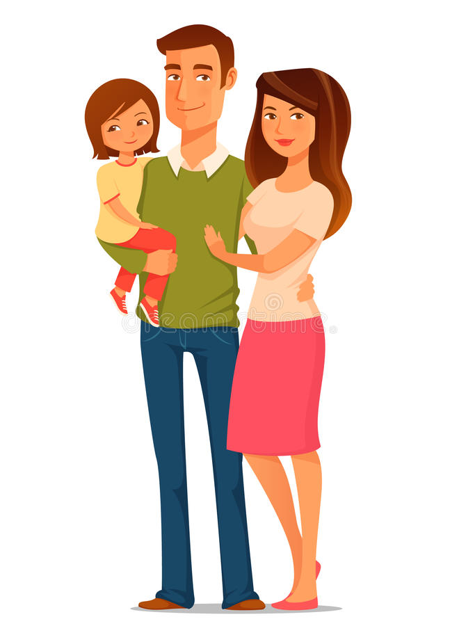 Cartoon illustration of a happy young family royalty free illustration