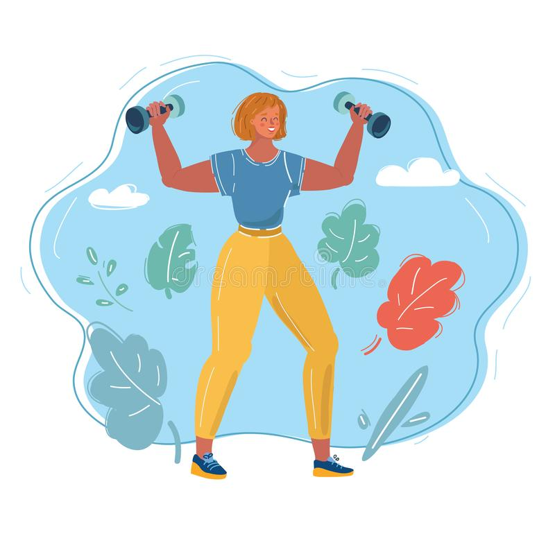 woman with dumbbells vector illustration
