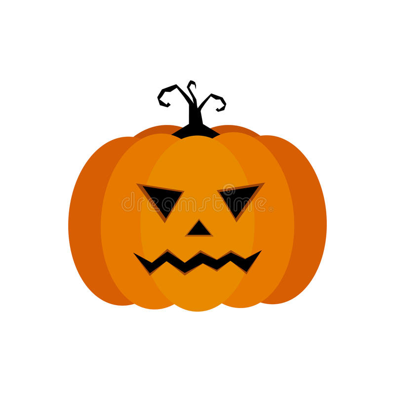 Cartoon illustration of a Jack-O-Lantern pumpkin curved in a vampire expression, isolated on white stock illustration