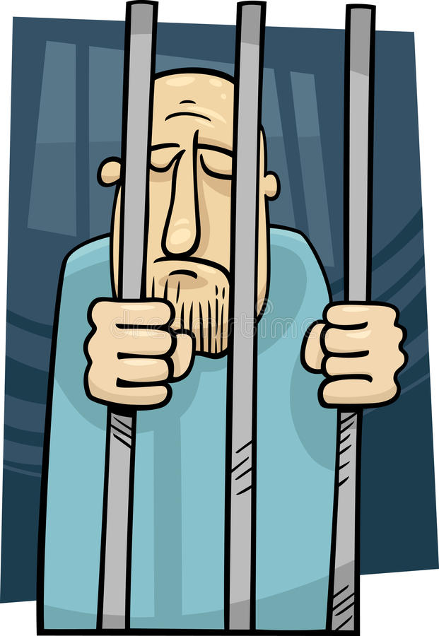 Cartoon Illustration Of Jailed Man Stock Images