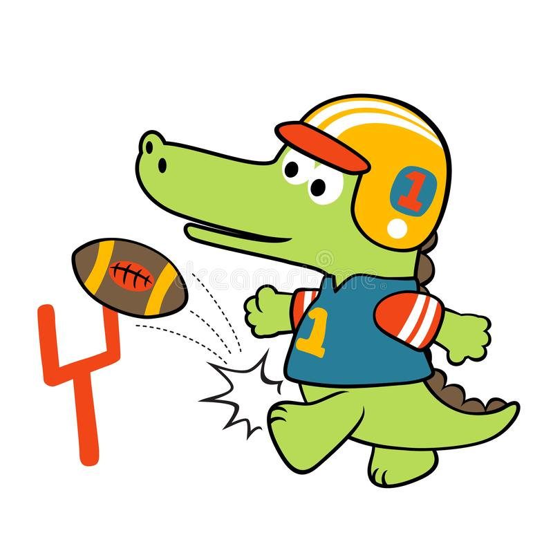 Little crocodile the rugby player, vector cartoon illustration royalty free illustration