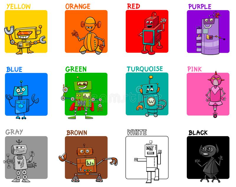 Main colors cartoon educational set with robots. Cartoon Illustration of Main Colors with Fantasy Robot Characters Educational Set for Preschool Children royalty free illustration