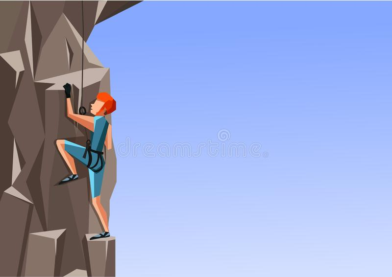 Cartoon illustration of a man climbing the rock on blue background. stock illustration