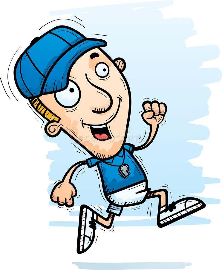 Cartoon Man Coach Running. A cartoon illustration of a man coach running stock illustration