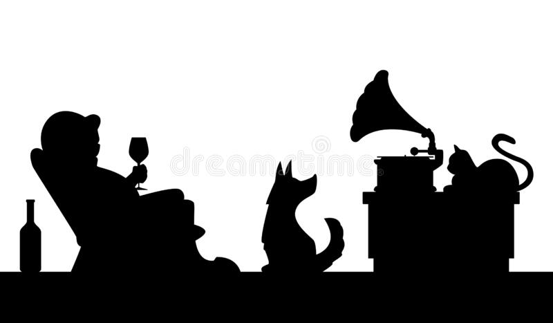 Cartoon illustration - man with a glass of wine in a chair listens to music from a phonograph stock illustration
