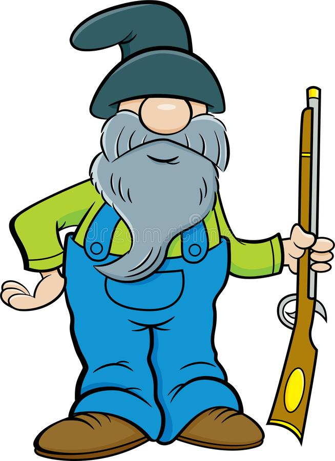 Cartoon man with a long beard holding a musket. Cartoon illustration of a man with a long beard holding a musket royalty free illustration