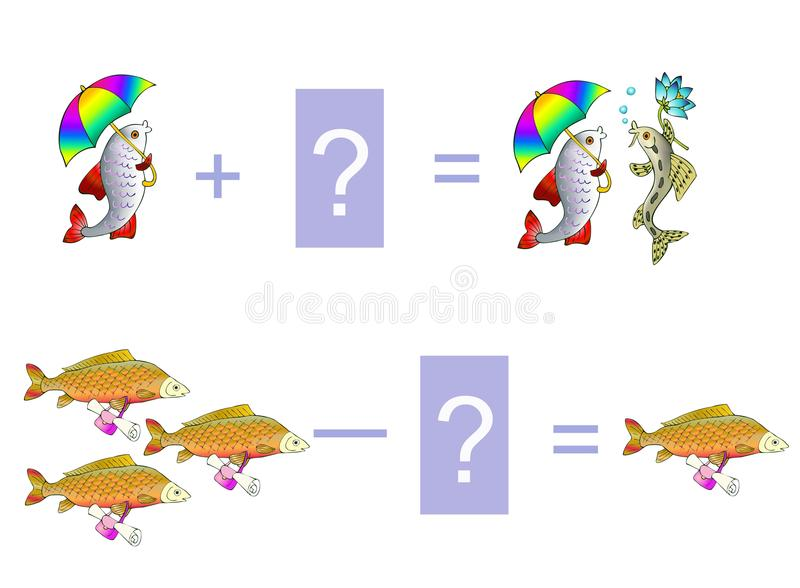 Cartoon illustration of mathematical addition and subtraction. Examples with cute fishes royalty free illustration