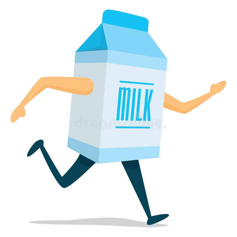 Milk carton running fast. Cartoon illustration of milk carton on the run royalty free illustration