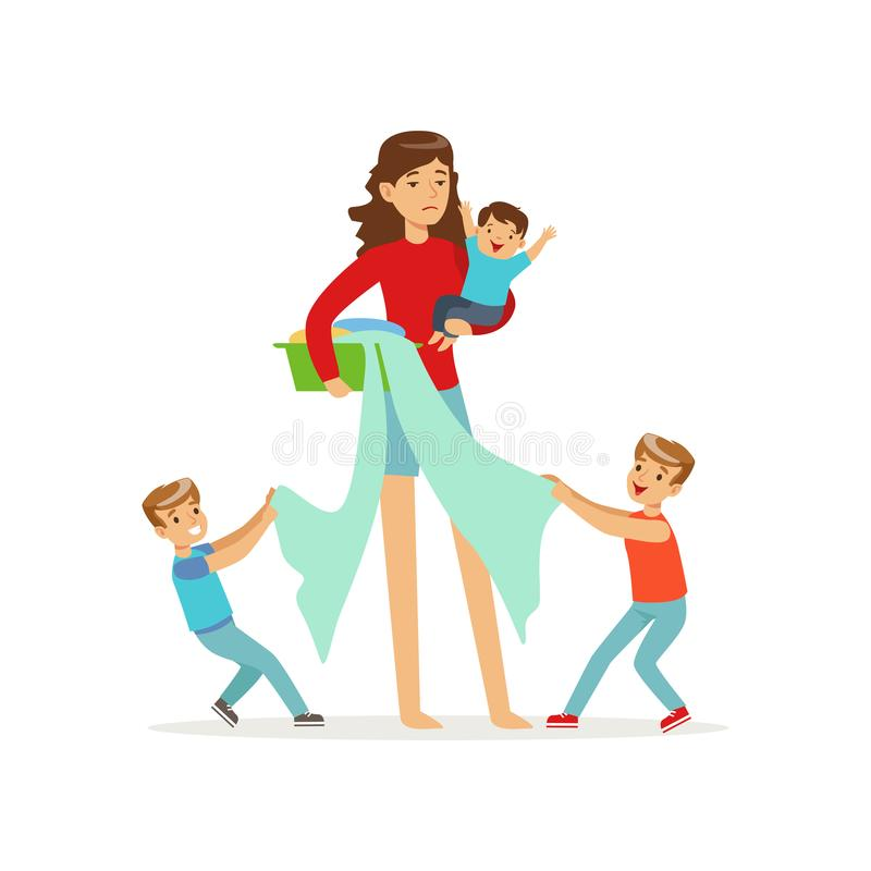 Cartoon illustration of mother and three disobedient sons. Flat vector cartoon illustration of mother and three disobedient sons characters. Wash basin with vector illustration