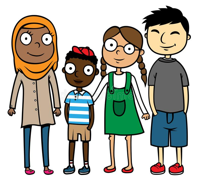 Cartoon illustration multicultural multiracial children royalty free illustration