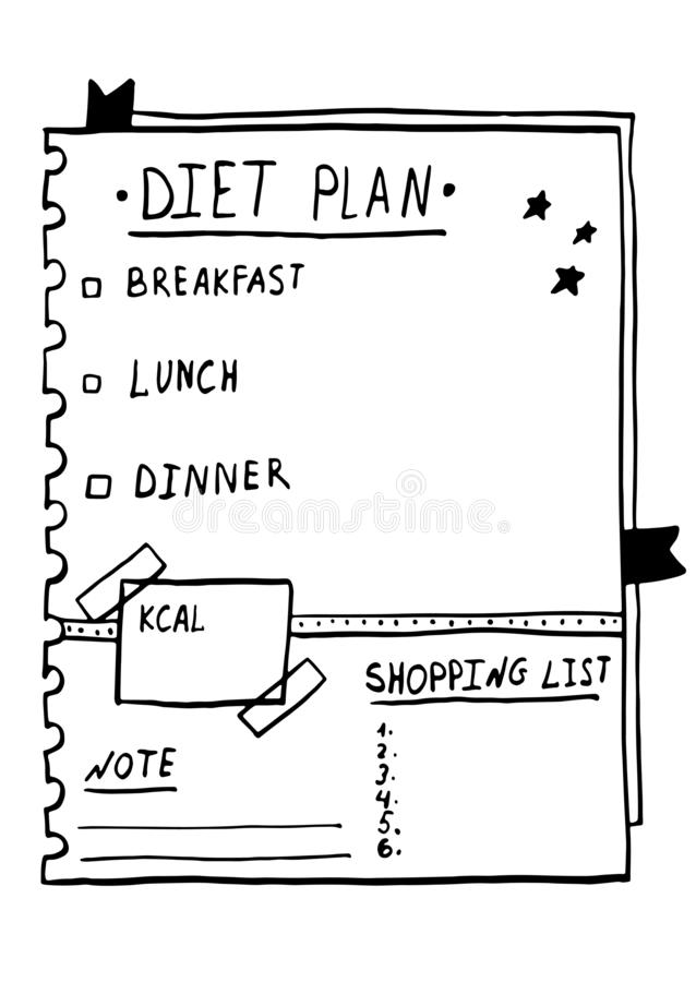 Cartoon illustration of nutrition plan. Hand drawn diet plan in doodle style for breakfast, lunch and dinner. Healthy meal concept vector illustration