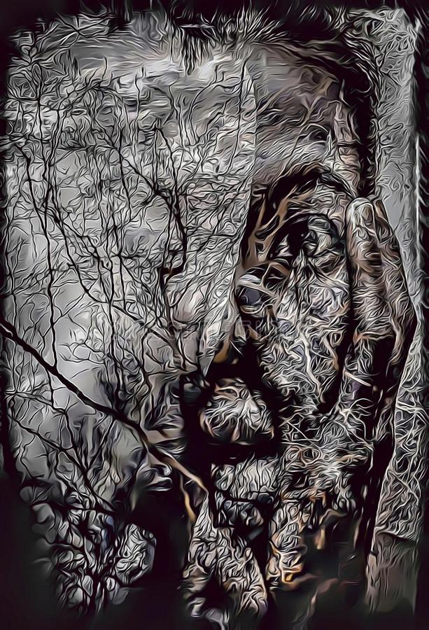 Free Cartoon Illustration Of Ghost Woman With Reflection Of Trees In Water, Nightmare Concept Royalty Free Stock Photo - 130970265
