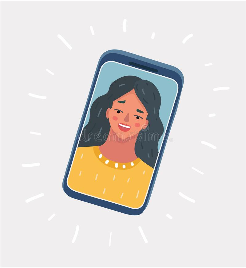 Free Cartoon Illustration Of Young Beautiful Smiling Girl On Display Smartphone. Chat, Video Call, Self Portrait On White Stock Image - 188008511