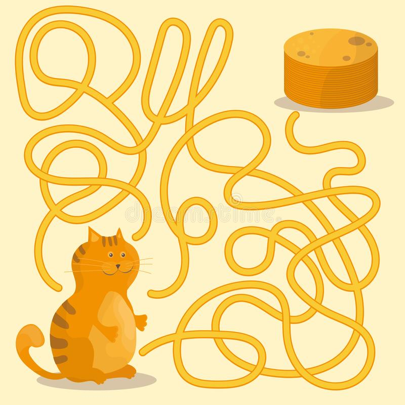 Cartoon of Paths or Maze Puzzle Activity Game with Kitten and Pancakes. Cartoon Illustration of Paths or Maze Puzzle Activity Game with Kitten and Pancakes royalty free illustration