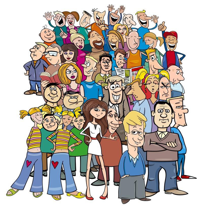 Crowd of cartoon people characters royalty free illustration