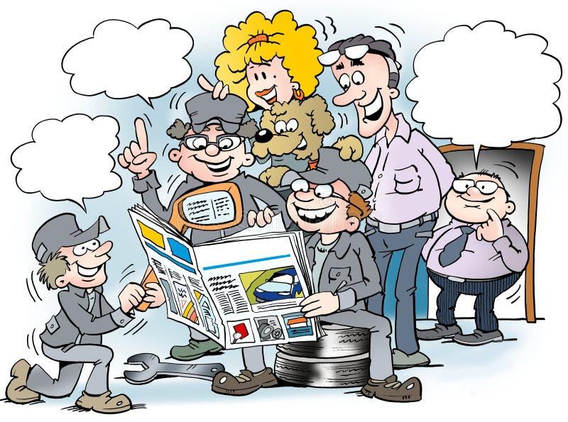 Cartoon illustration of people there read newspaper stock illustration