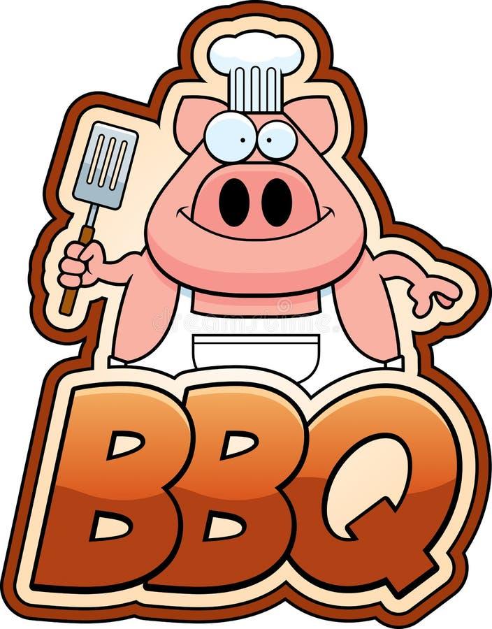Cartoon Pig and BBQ Text. A cartoon illustration of a pig chef with bbq text vector illustration