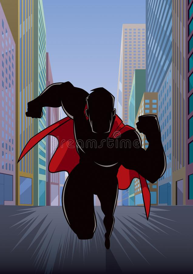 Superhero Running in City Silhouette stock illustration