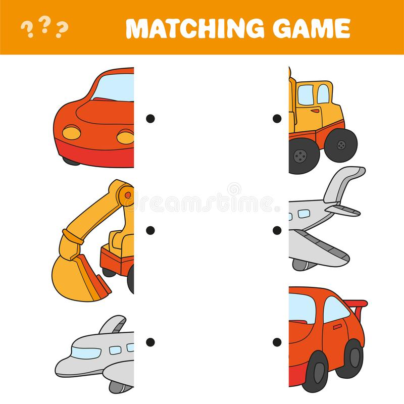 Cartoon Illustration of Preschool Education Activity with Matching Halves Game stock illustration