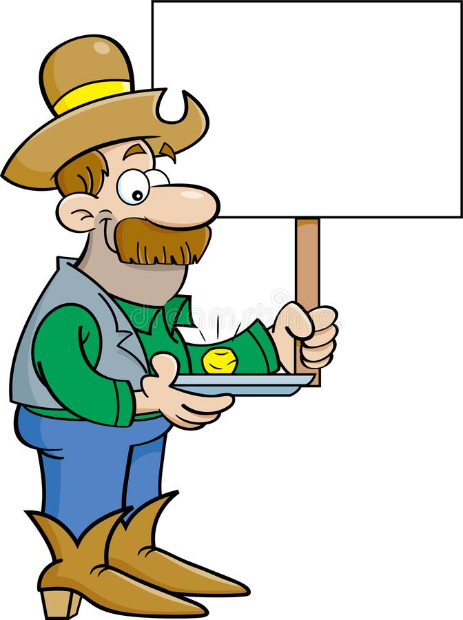Cartoon prospector with a gold nugget holdling a sign. royalty free illustration