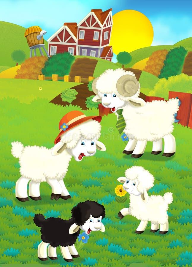 Cartoon illustration with sheep family on the farm stock illustration