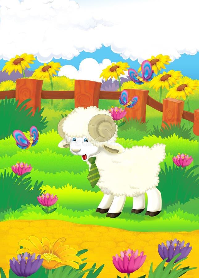 Download Cartoon Illustration With Sheep On The Farm - Illu Stock Illustration - Image: 33064672