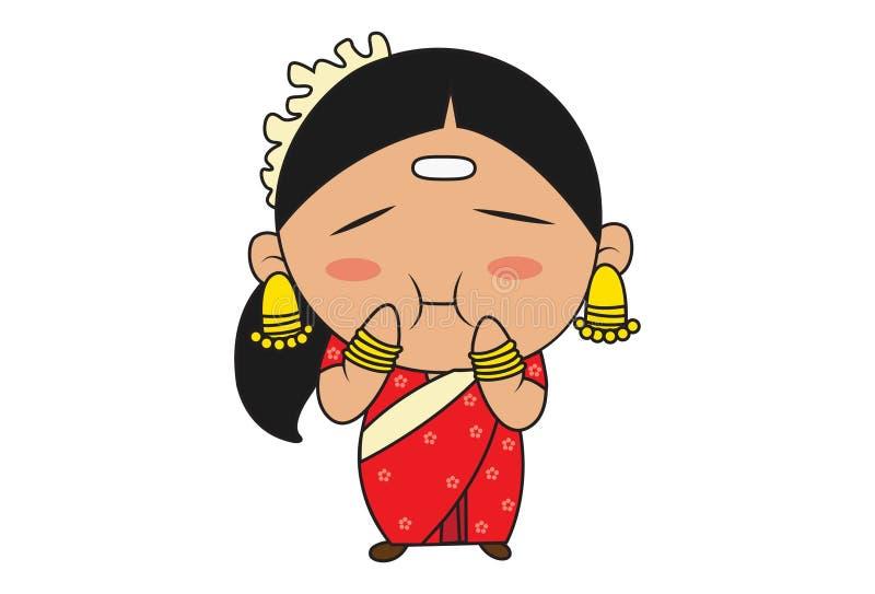Cartoon Illustration Of South Indian Woman. vector illustration