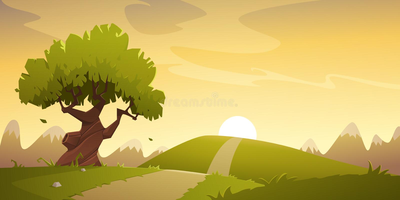 Countryside Cartoon Landscape royalty free illustration