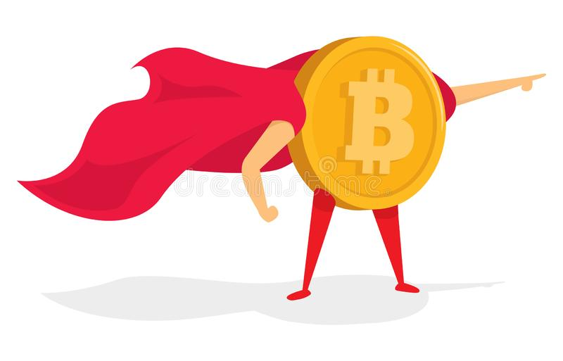Bitcoin super hero standing with cape royalty free illustration