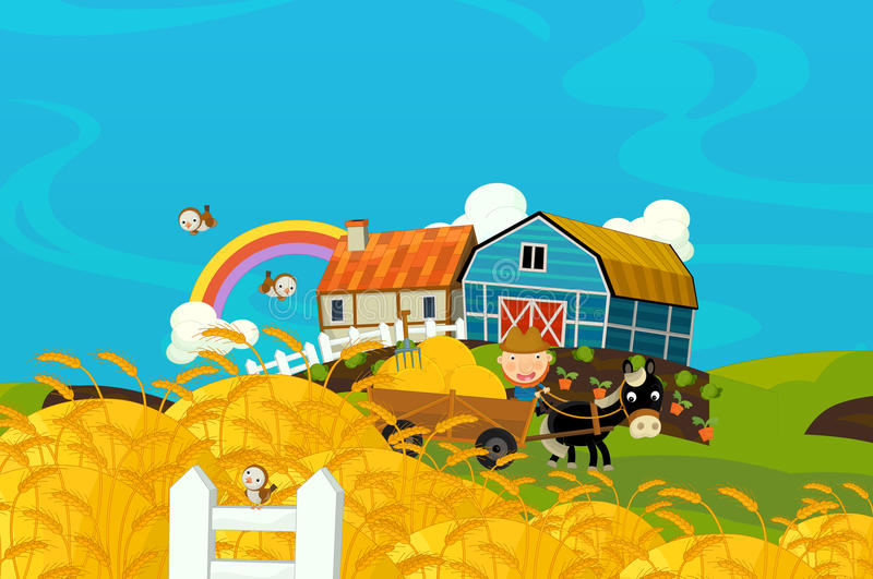 Cartoon illustration of traditional farmer working on his fields. Happy and funny traditional illustration for children - scene for different usage vector illustration