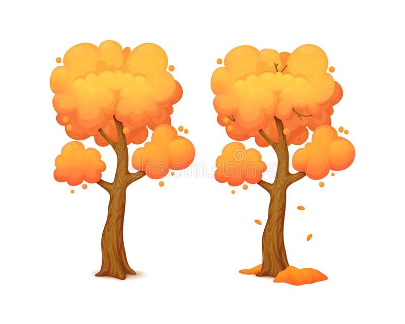Cartoon autumn tree with curved trunk with falling leaves. royalty free illustration
