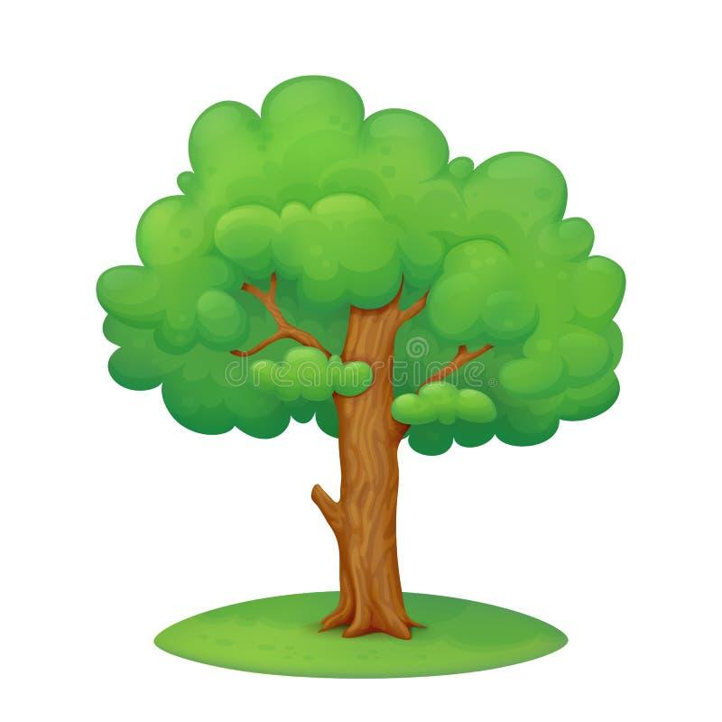 Cartoon tree with grass stock illustration