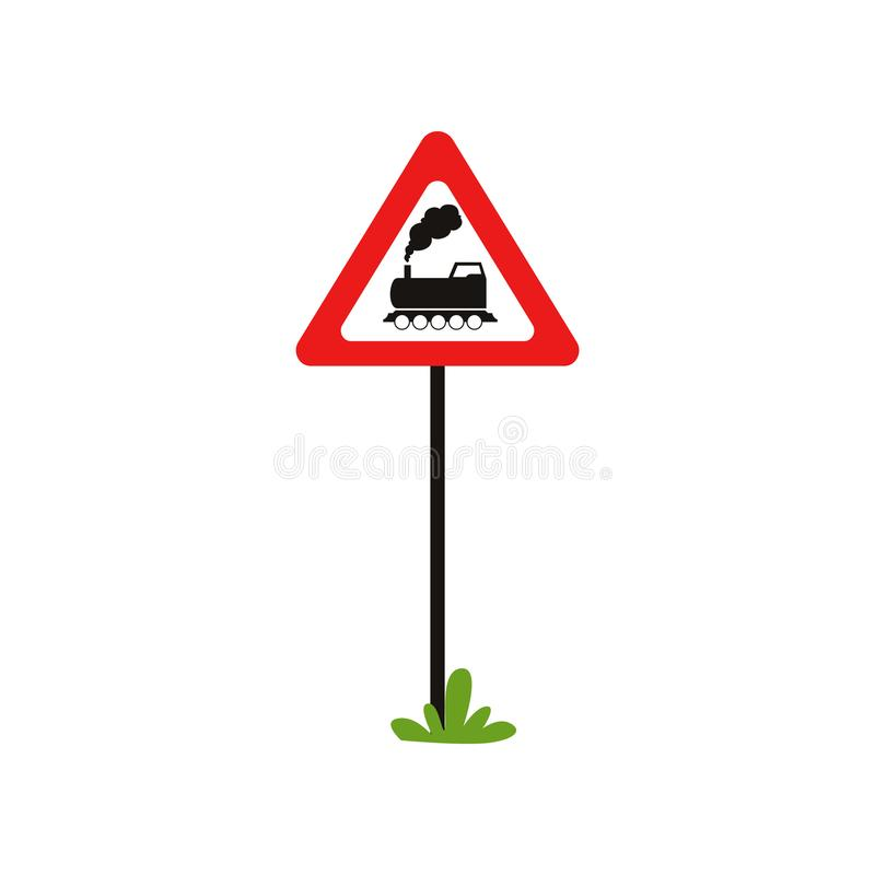 Cartoon flat vector illustration of triangular road sign with train without barrier . Railroad crossing ahead. Element stock illustration