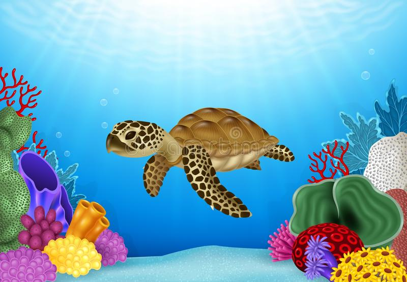 Cartoon illustration of Turtle with beautiful underwater world. Illustration of Turtle with beautiful underwater world vector illustration