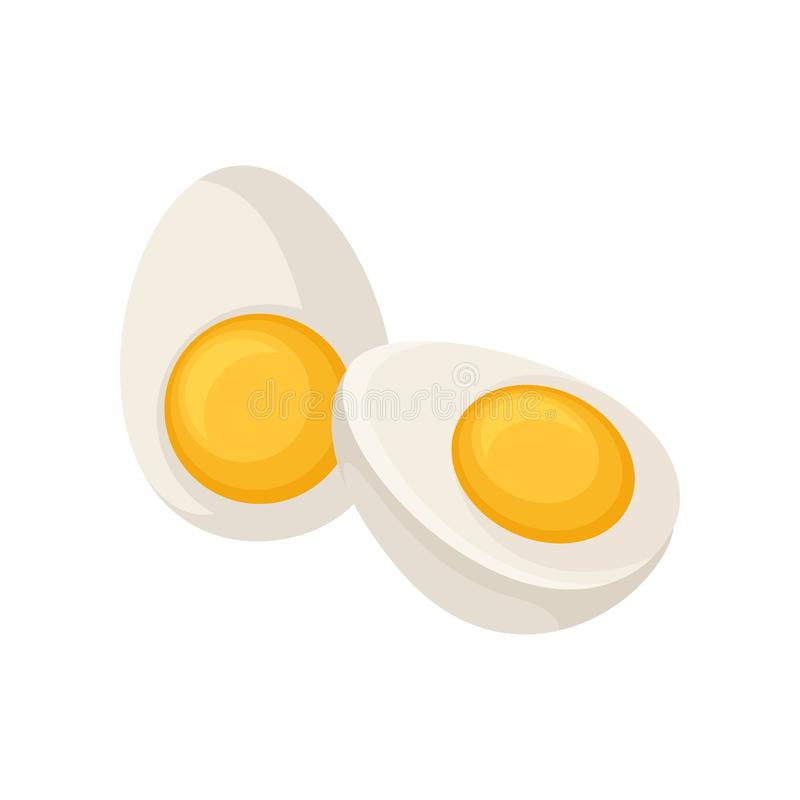 Two halves of hard-boiled egg isolated on white background. Healthy product. Cooking ingredient. Flat vector icon stock illustration