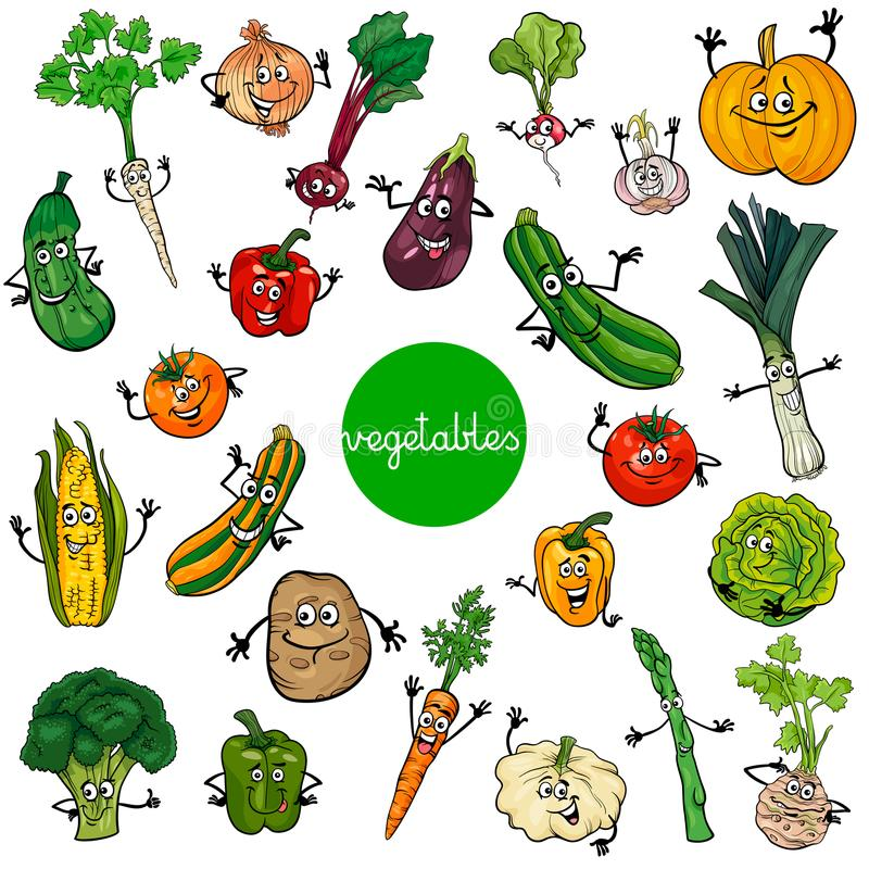 Cartoon vegetables characters collection stock illustration