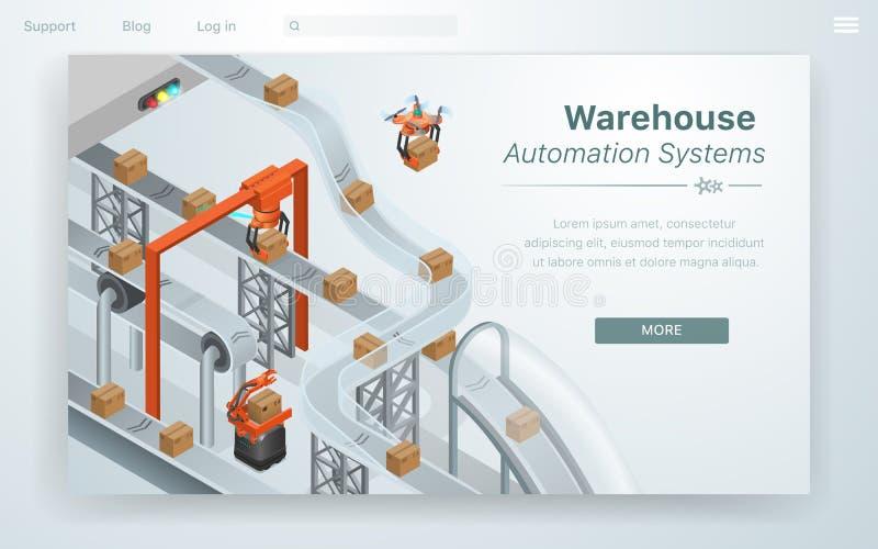 Cartoon Illustration Warehouse Automation System. royalty free illustration