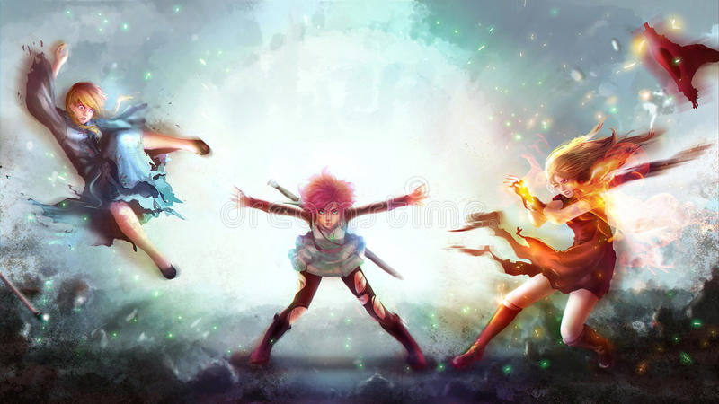 Cartoon illustration of a warrior girl blasting magic power attack to women witch and sorcerer in japanese manga fantasy concept. stock illustration
