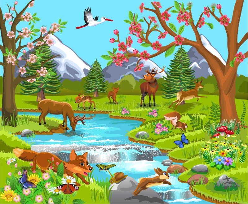 Cartoon illustration of wild animals in a spring natural landscape. Cartoon illustration of wild animals like deer, fox, rabbit, elk in a spring natural royalty free illustration