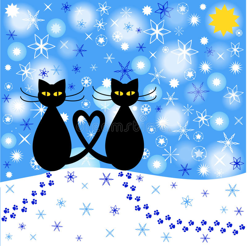 Cat and winter stock illustration. Illustration of ...  |Winter Scenes With Cats