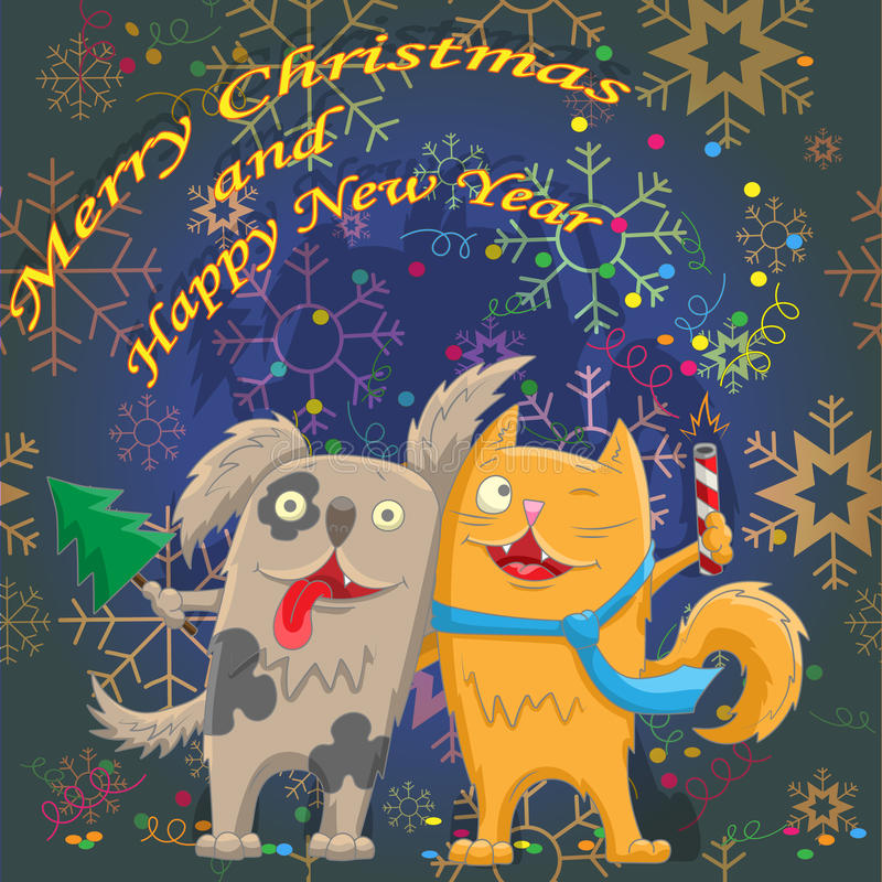 Cartoon illustration for the winter holidays, the cat and the dog is ready to celebrate. Card for the winter holidays, the cat and the dog is ready to celebrate vector illustration