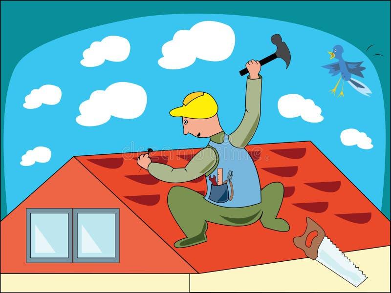 Cartoon illustration of a workman