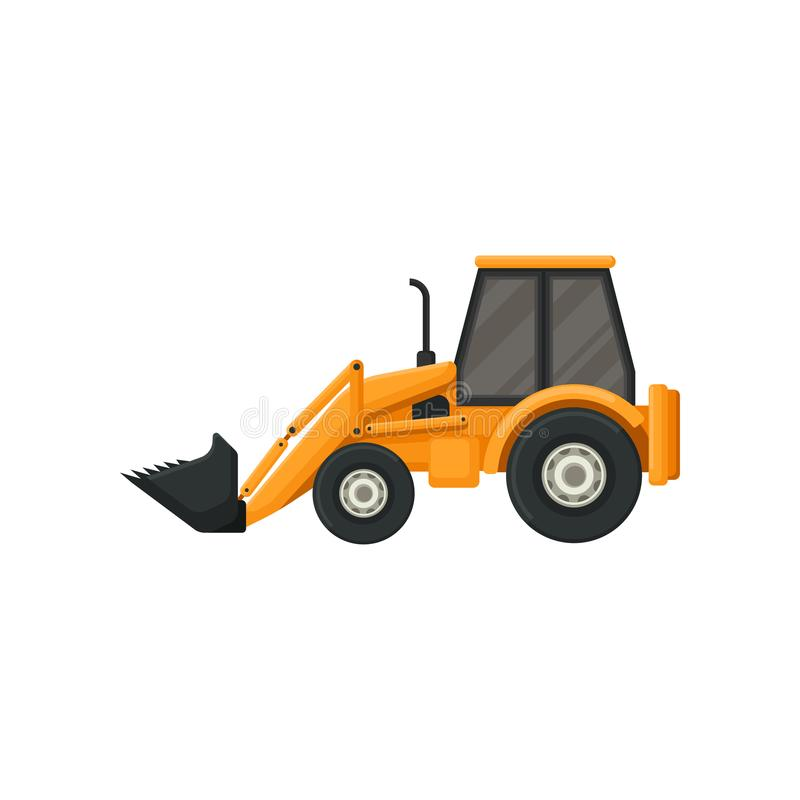 Yellow tractor with bucket. Front-end loader. Heavy machine used in construction works. Flat vector design royalty free illustration