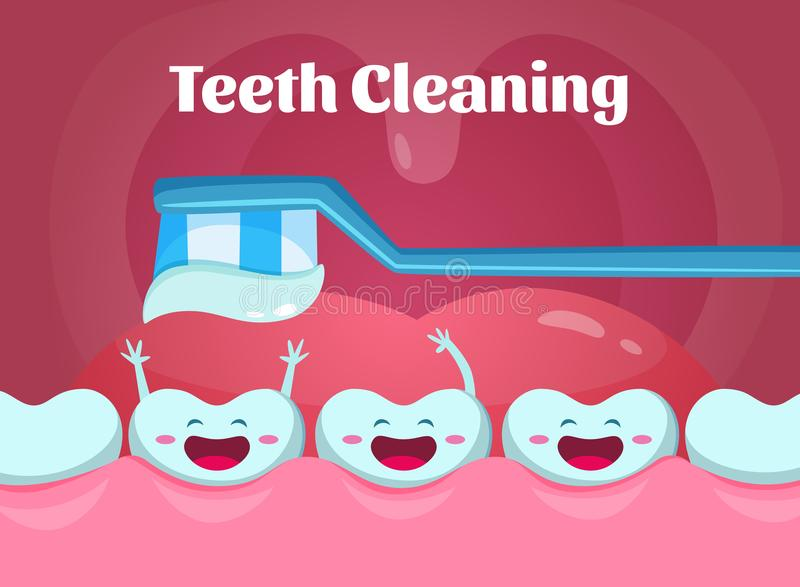 Cartoon illustrations of cute and funny teeth in mouth. Dental poster with toothbrush stock illustration