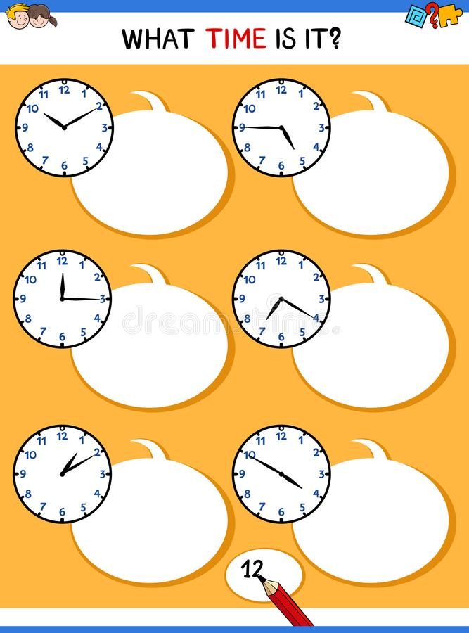 Telling time with clock face educational task. Cartoon Illustrations of Telling Time Educational Game with Clock Face for Elementary Age Children stock illustration