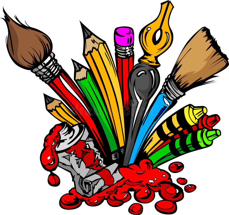 Cartoon Image of Art Supplies. Art and Back to School Supplies- Paint Brushes, Pencils, Oil Paint, Pens, and Crayons Cartoon Vector Image stock illustration