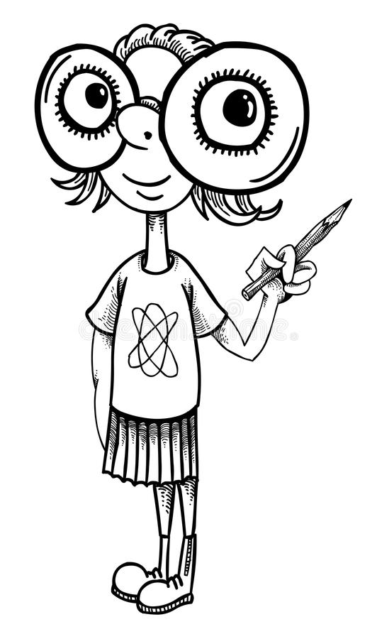Cartoon image of geeky girl royalty free illustration