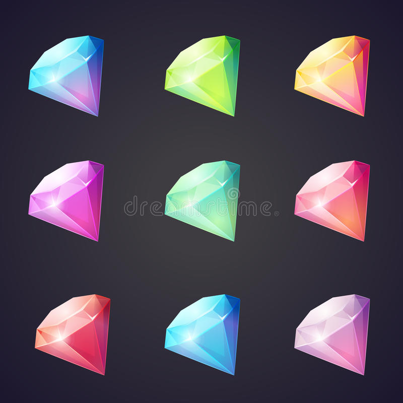 Cartoon image of gems and diamonds of different colors on a black background for computer games. royalty free illustration